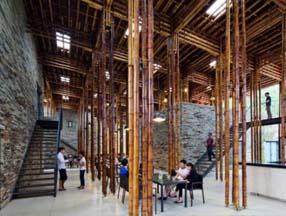 竹子装修餐厅休息区效果图