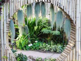 竹子装修花园圆形拱门效果图