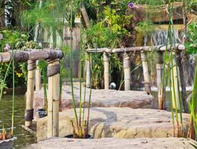 竹子装修花园石桥效果图