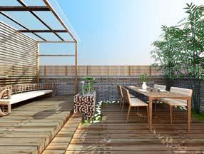 竹子装修顶楼露台效果图